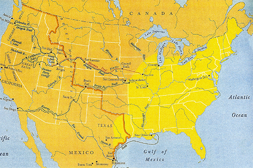 Map Shows The United States In 1846 Roughly The Somewhat Settled Eastern Area In Yellow And Vast Lands West Of The Orange Line Acquired By Polk S